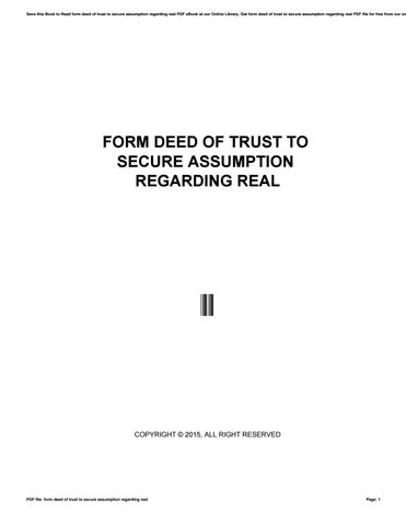 Form Deed Of Trust To Secure Assumption Regarding Real By