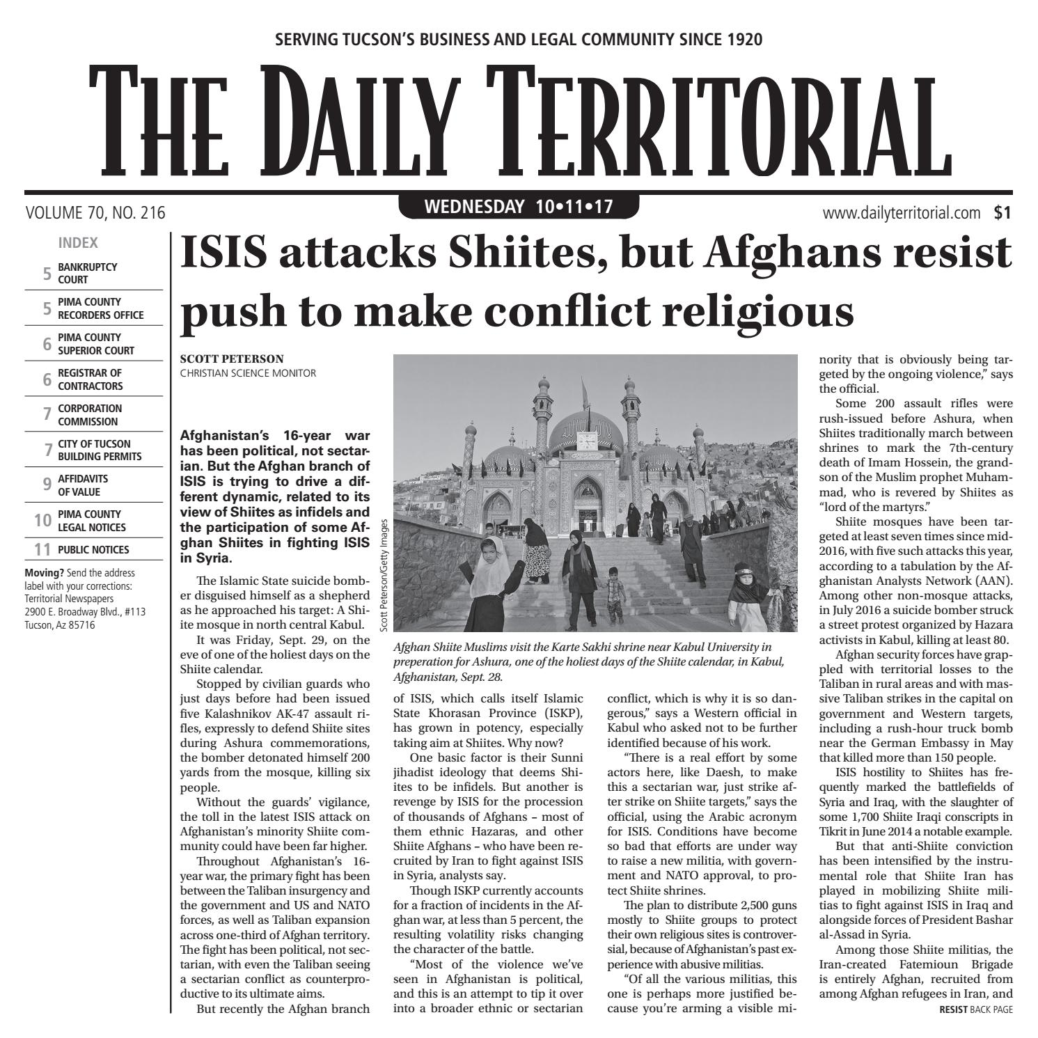 10/11/2017 The Daily Territorial by Wick Communications - issuu