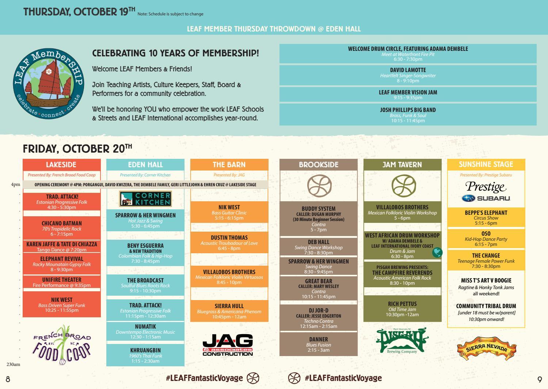 LEAF Festival Performance Schedule Fall 2017 by LEAF Community Arts ...