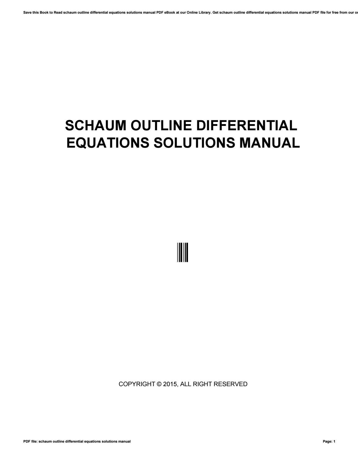 Pdf 7045 Differential Equations By Schaum Series Solution Manual