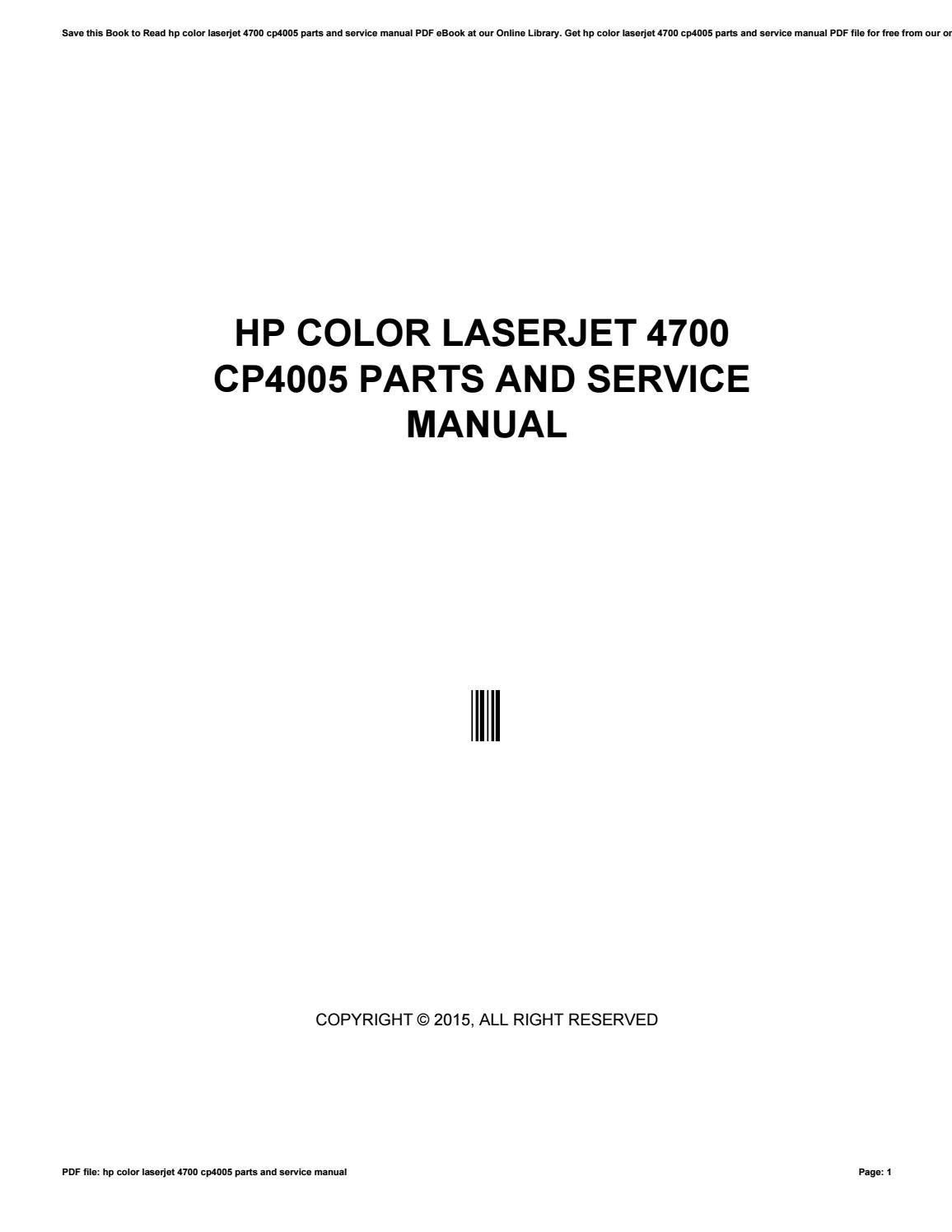Hp color laserjet 4700 cp4005 parts and service manual by fares29mikon -  issuu