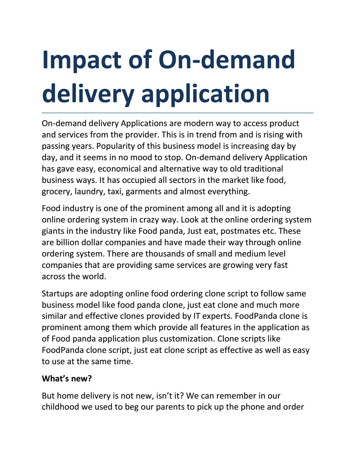Impact of on demand delivery application by Oddappz - issuu