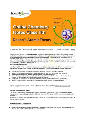 Cbse ncert solutions chemistry notes for class 11 dalton's