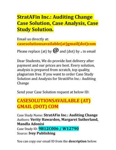 audit case study solutions