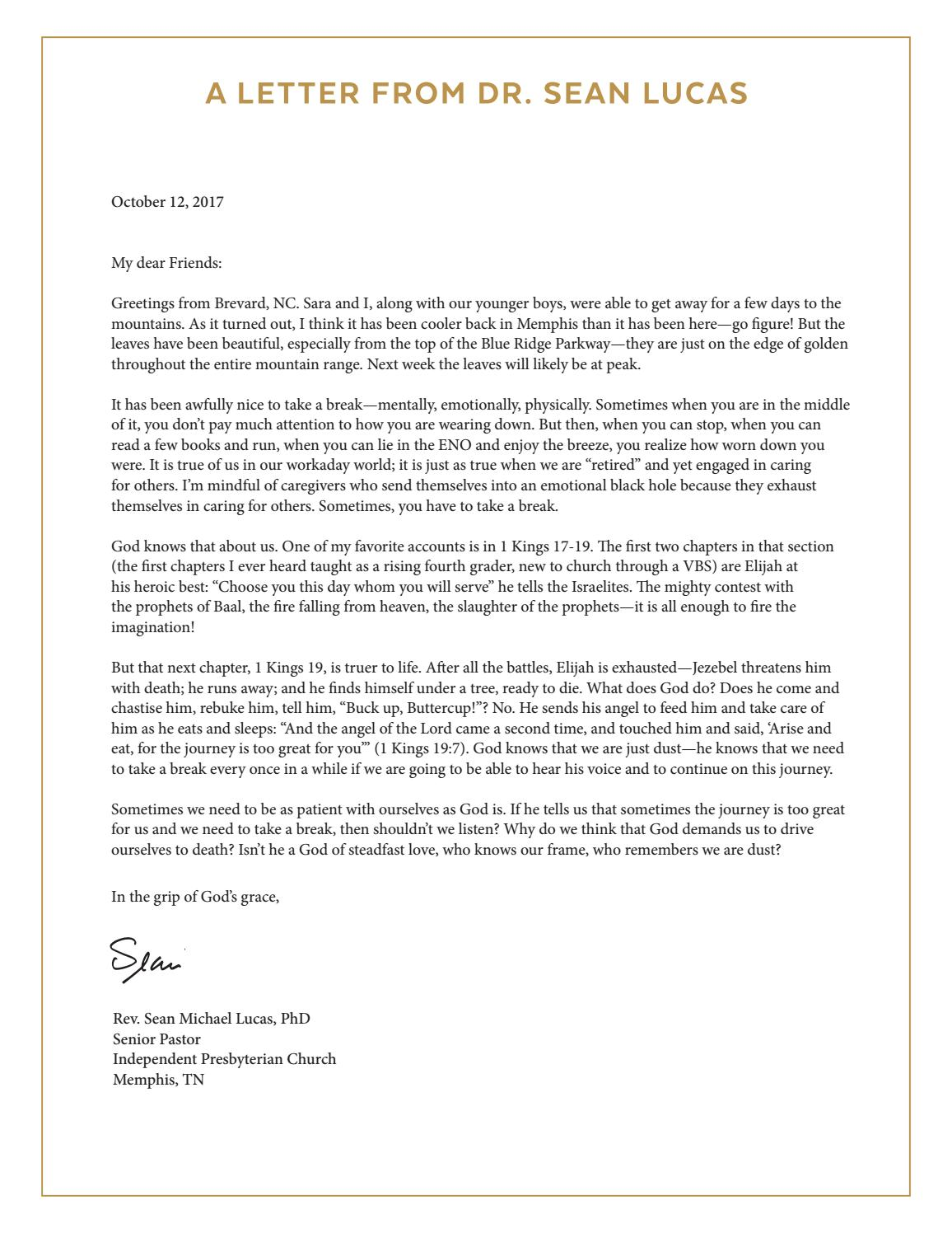 A Letter from Dr. Sean Lucas October 12, 2017 by Independent ...