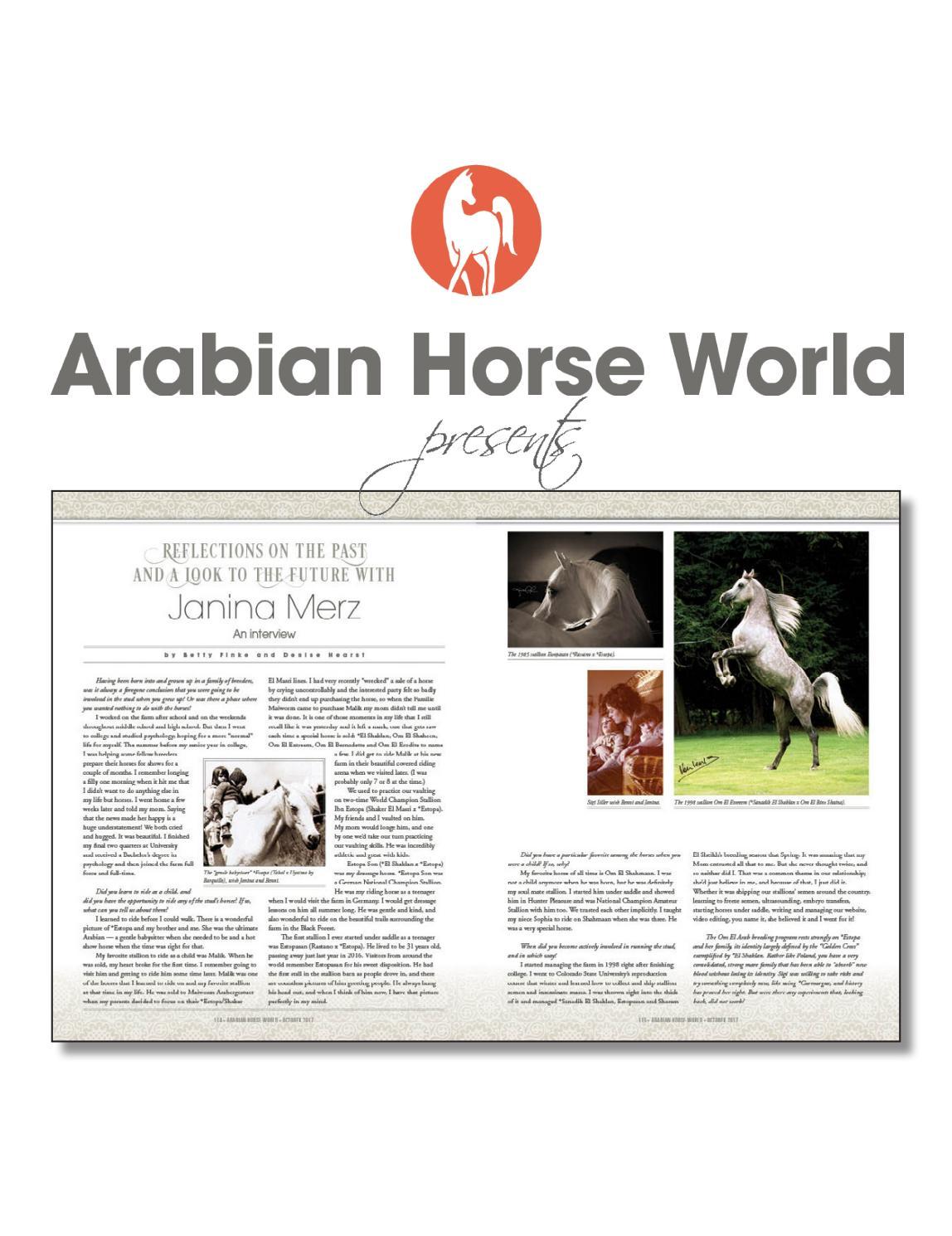 A Tribute To Sigi Siller And Om El Arab By Arabian Horse World Issuu