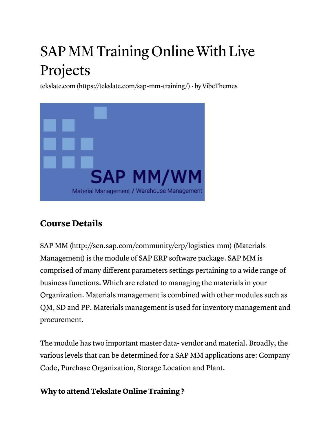 Sap mm training by Tekslate - issuu