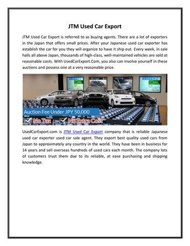 JTM Used Car Export by Doris Bell - issuu
