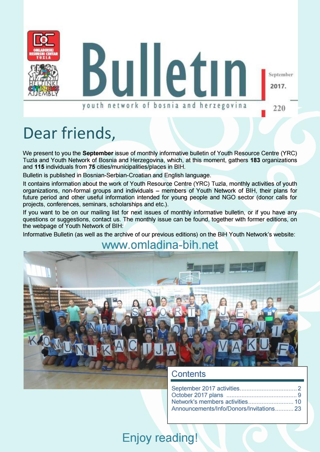 Orc Youth Network In Bh Monthly Bulletin 220 September