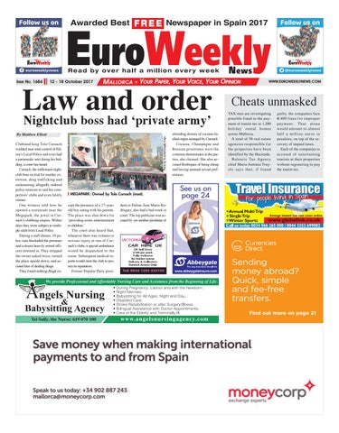 Euro weekly news mallorca 12 18 october 2017 issue 1684 by euro page 1 fandeluxe Image collections