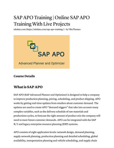 Sap apo training online sap apo training with live projects