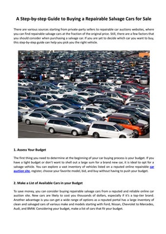 A Step-by-step Guide to Buying a Repairable Salvage Cars for Sale by