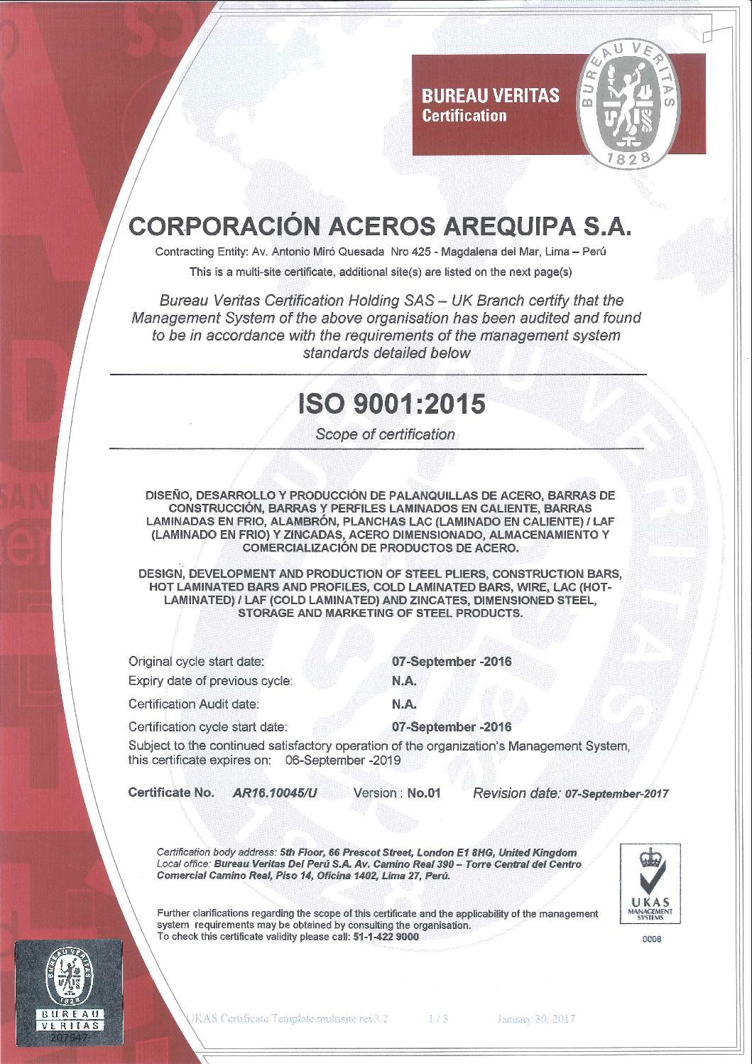 Certificado iso 9001 2008 sistema de gestion de calidad page 1