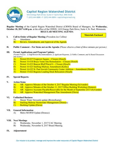 October 18, 2017 board packet by Capitol Region Watershed