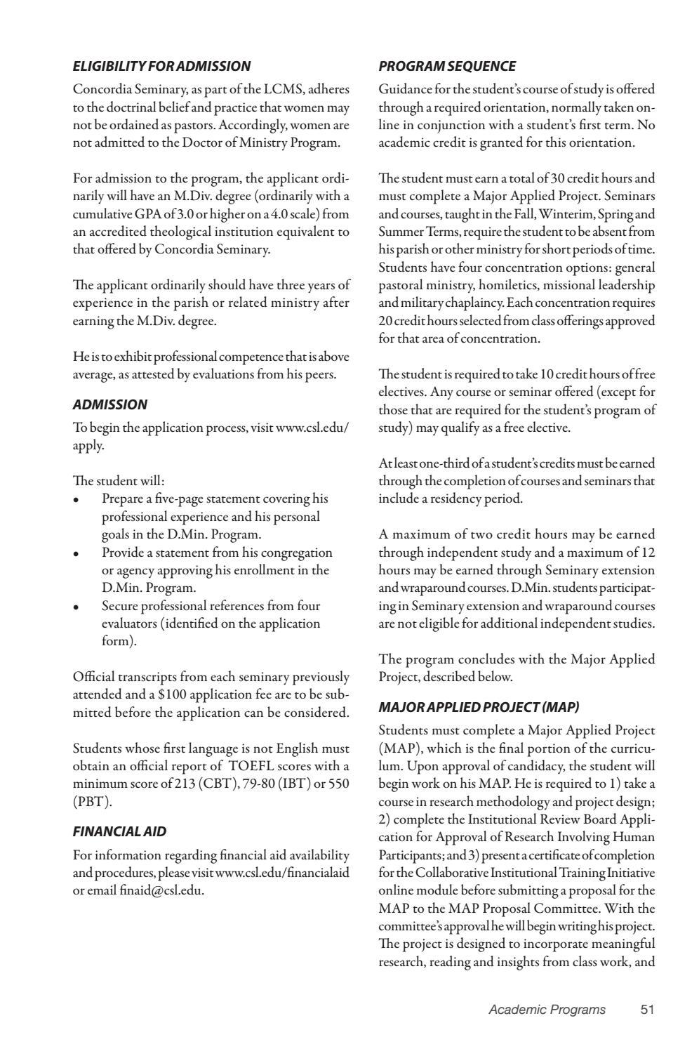 Academic Catalog 2017-18 by Concordia Seminary - issuu