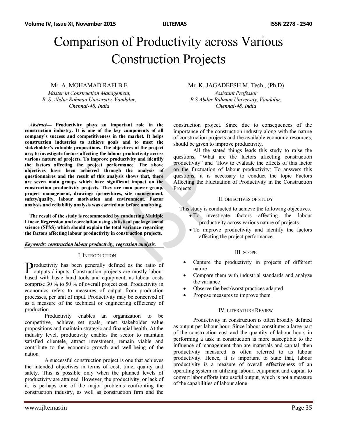 Comparison of Productivity across Various Construction