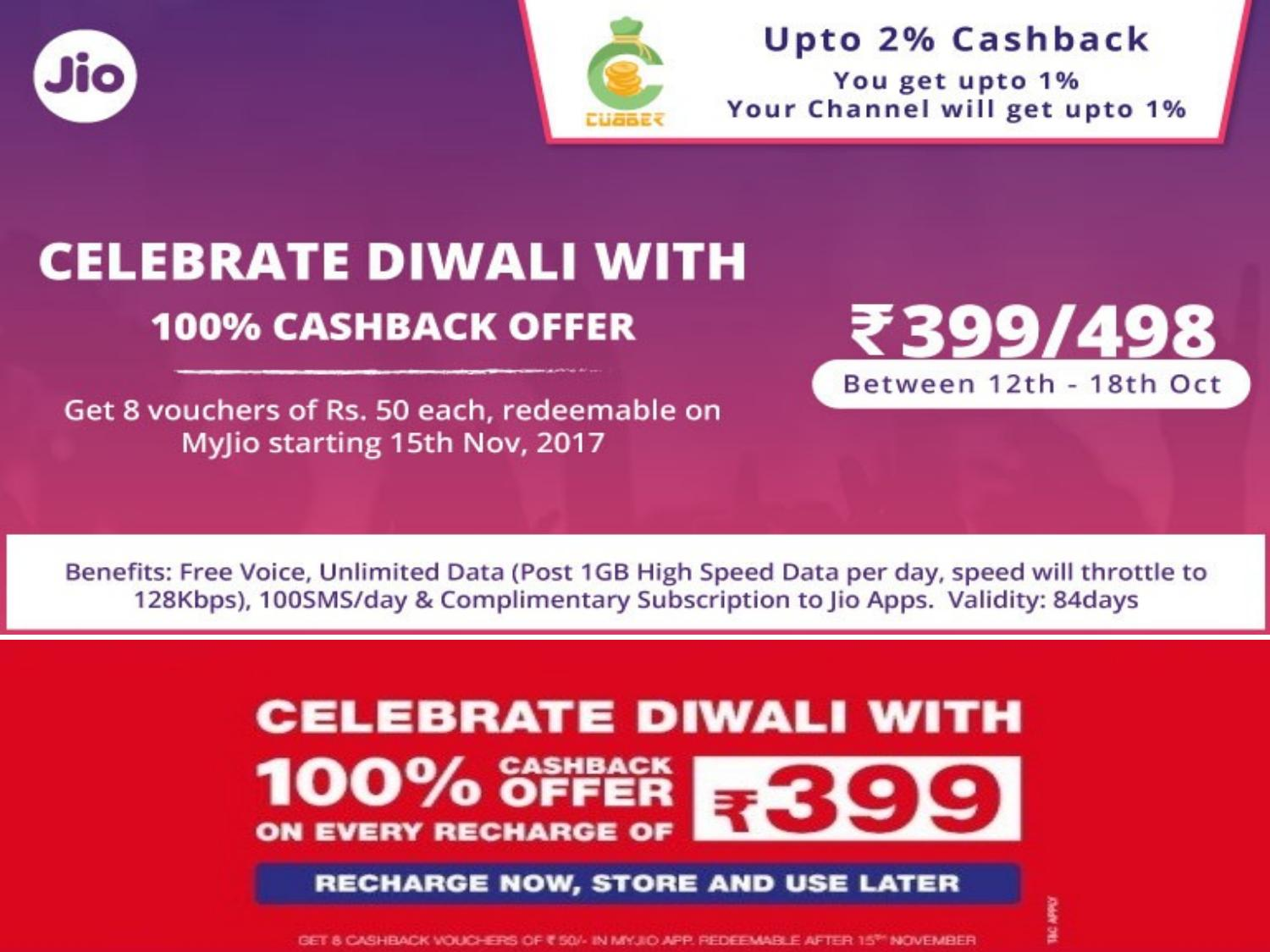 Reliance jio dhamaka offers with additional cashback on cubber by