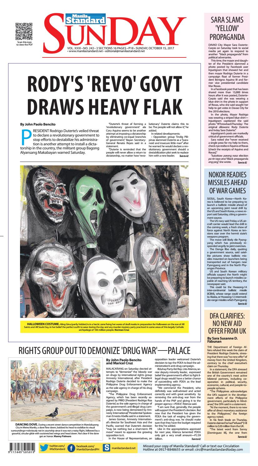 654791e745 Manila Standard - 2017 October 15 - Sunday by Manila Standard - issuu