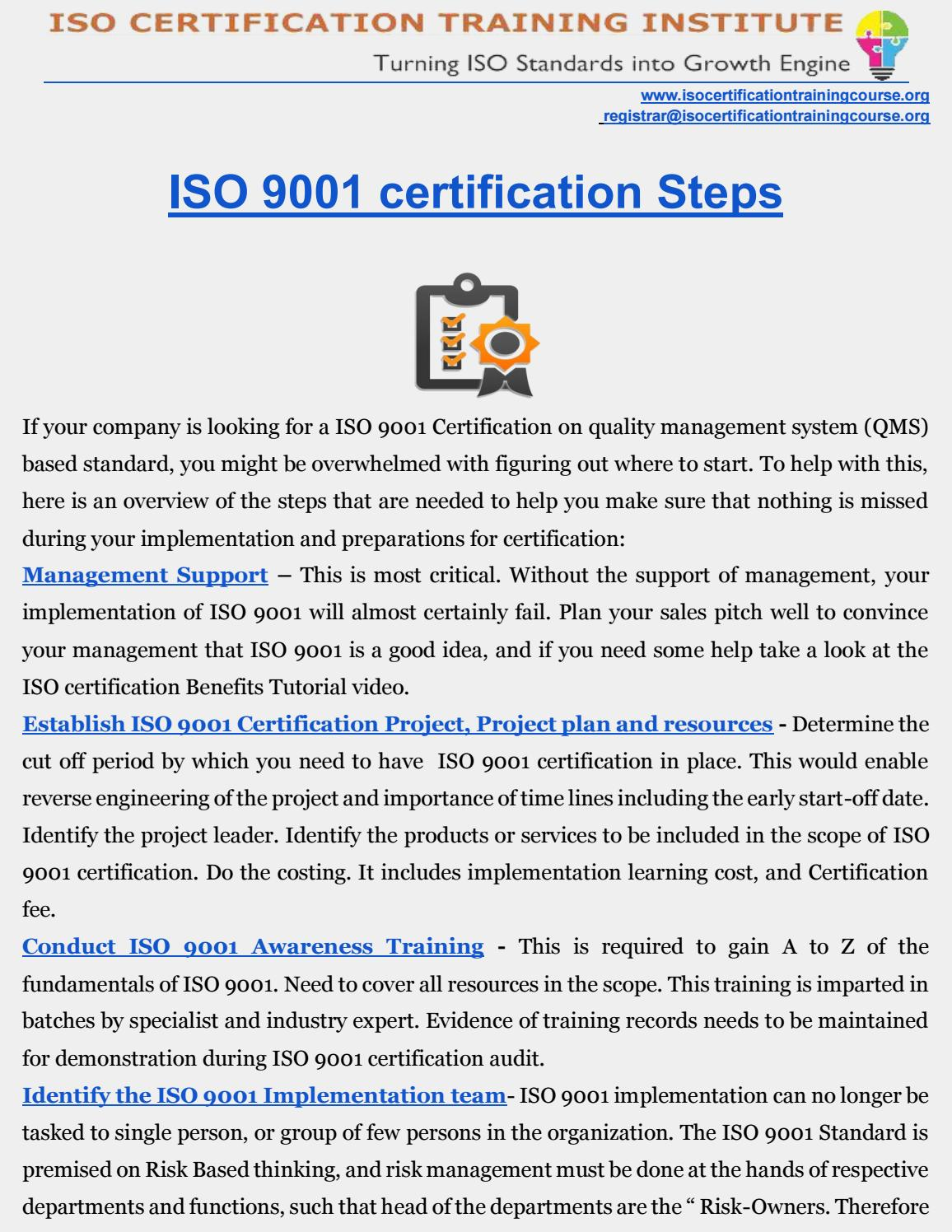 ISO 9001 certification   QMS Certification   ROADMAP by ISO Training ...
