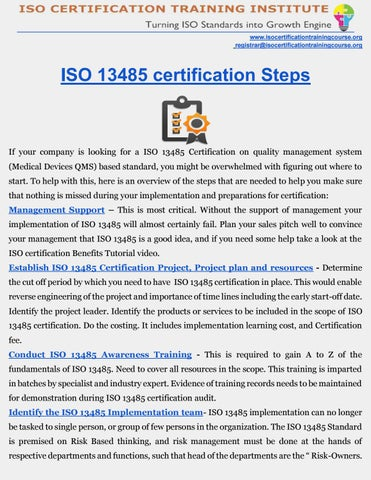 ISO 13485 Certification |Medical Devices QMS Certification | ROADMAP ...