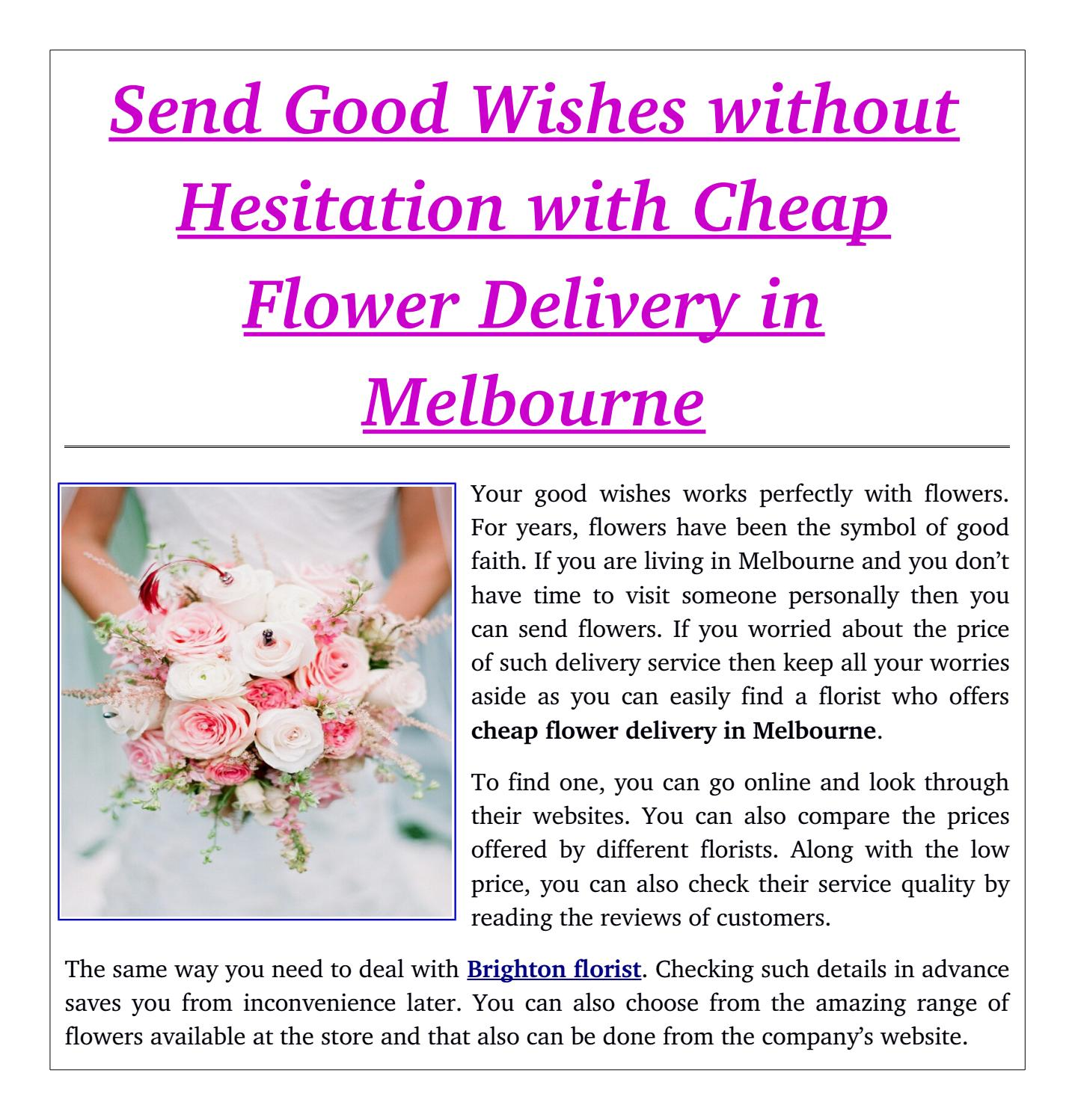 Send good wishes without hesitation with cheap flower delivery in send good wishes without hesitation with cheap flower delivery in melbourne by flower shop melbourne issuu izmirmasajfo Gallery