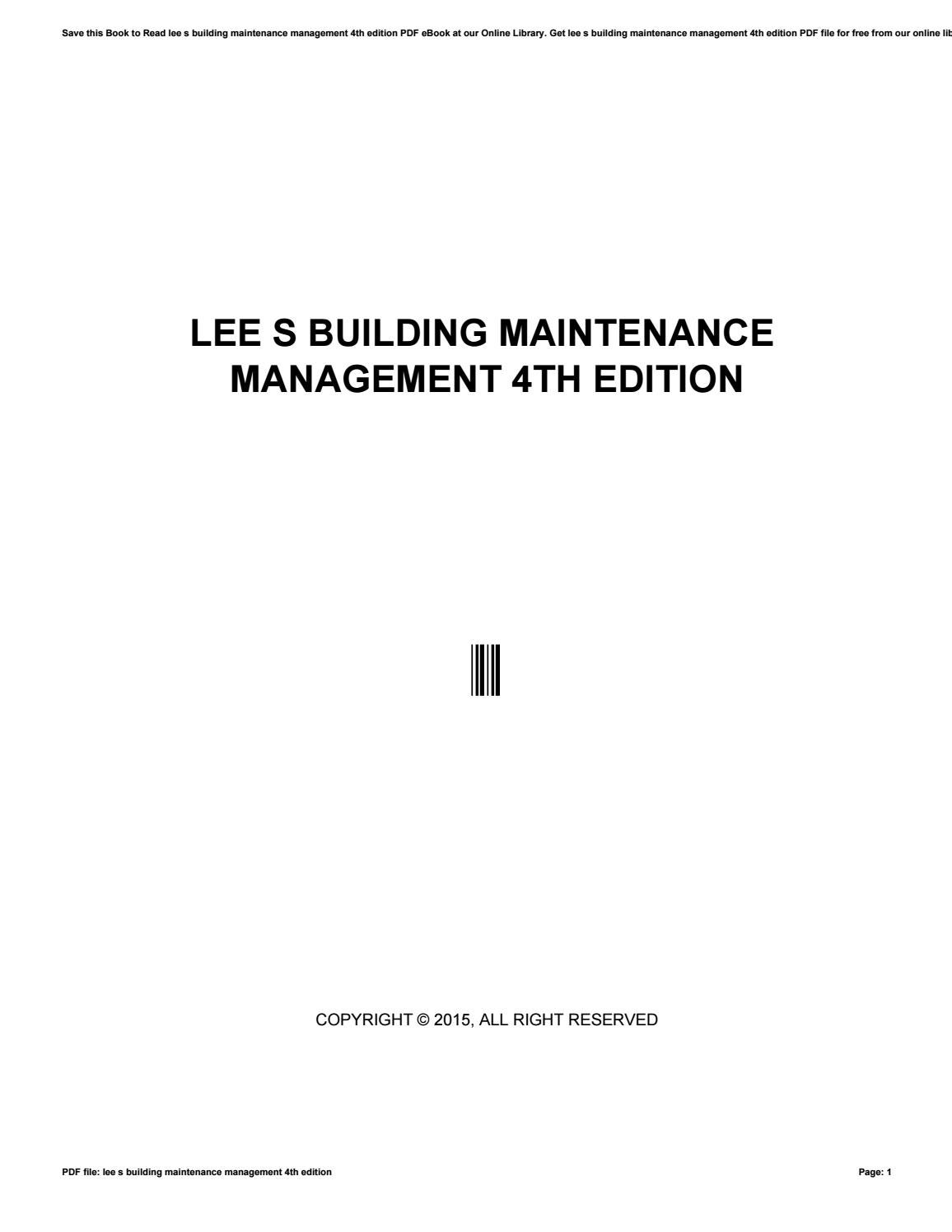 Lee s building maintenance management 4th edition by
