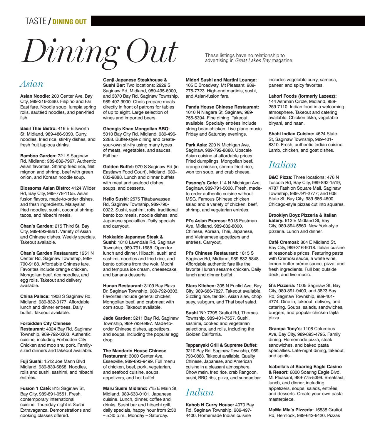 2017 october dining out guide by fp horak issuu for Chan s garden saginaw