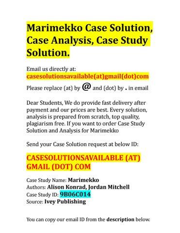 marimekko case study ivey