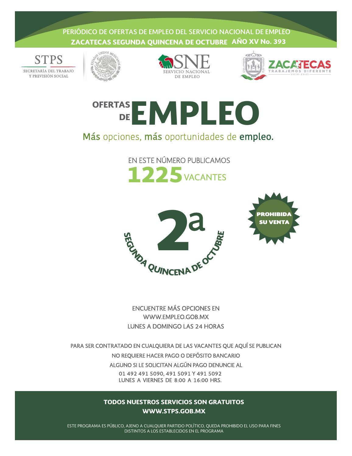 Vacantes 2da Quincena De Octubre 2017 By Servicio Nacional Del  # Muebles Cinthia Medellin
