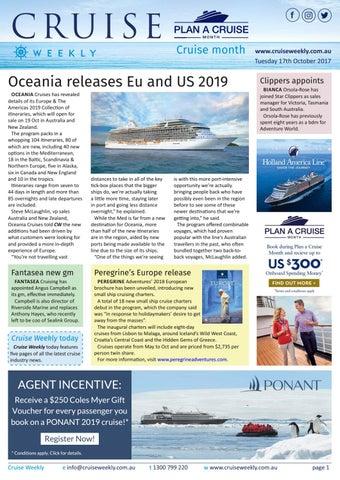 CW for Tue 17 Oct 2017 - Oceania Cruises, Peregrine