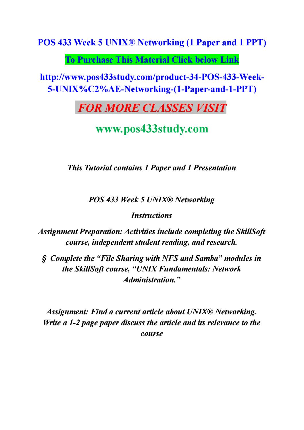 Pos 433 week 5 unix® networking (1 paper and 1 ppt) by tejesh4v - issuu