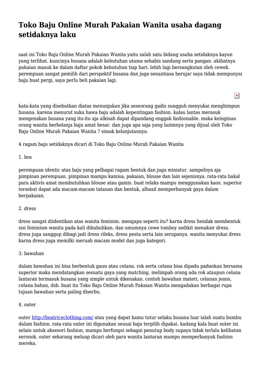 Toko Baju Online Murah Pakaian Wanita usaha dagang setidaknya laku... by  ethangoodson297 - issuu cc97ebe9cb