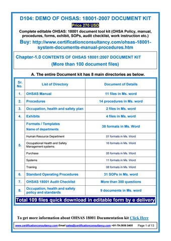 demo of ohsas 18001 2007 document kit by certification consultancy rh issuu com OHSAS 18001 2007 PDF OSHA 18001 Certification