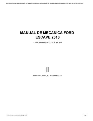 manual for 2010 ford escape