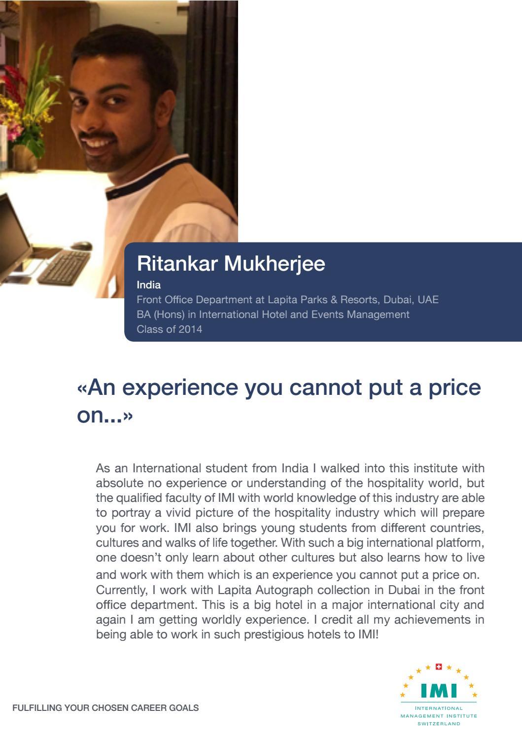 IMI Testimonials - Ritankar Mukherjee - India by IMI Luzern - issuu