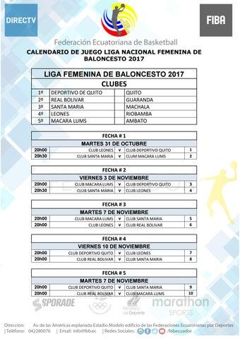 Calendario Liga Femenina.Calendario Liga Femenina 2017 By Layana Juan Issuu