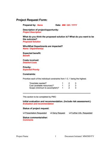 Initial Project Request Form By Chance DKCorreia Mba Pmi