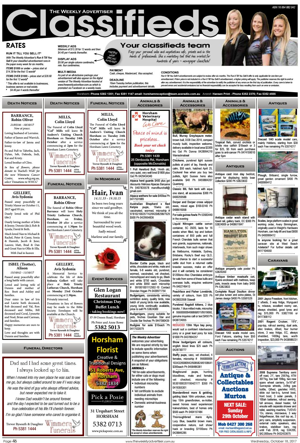 The Weekly Advertiser - Wednesday, October 18, 2017 by The