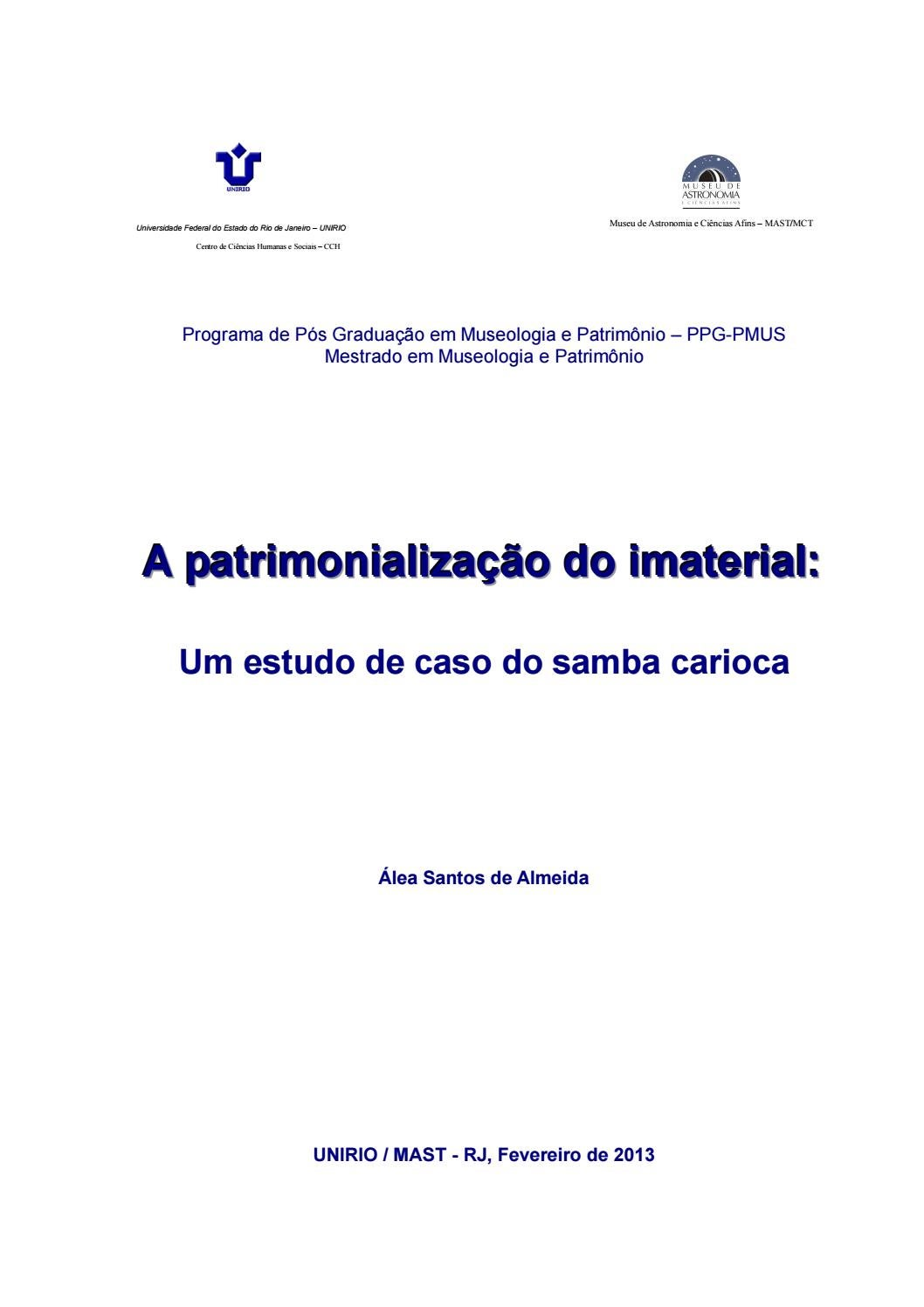 c8ffb1865b A Patrimonialização do Imaterial  um estudo de caso do samba carioca by  Portal Academia do Samba - issuu
