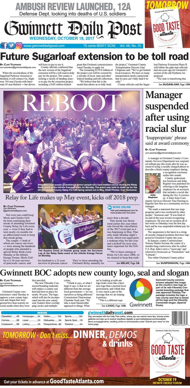 Gwinnett Daily Post — October 18, 2017 by Gwinnett Daily