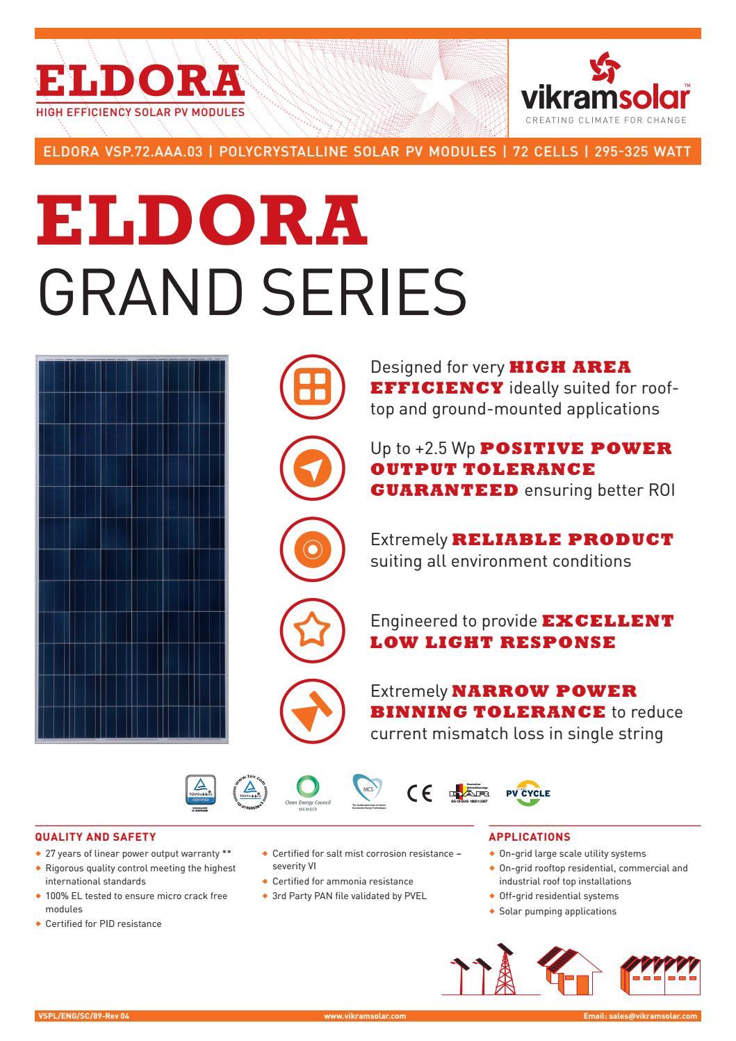 Datasheet vikram solar eldora grand 295 325 wp india by Loop