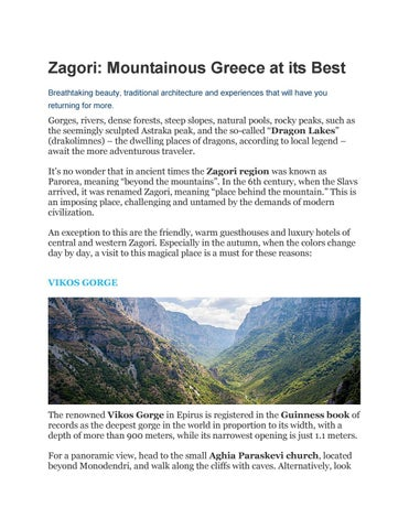 Zagori Mountainous Greece At Its Best By Angeliki1992 Issuu