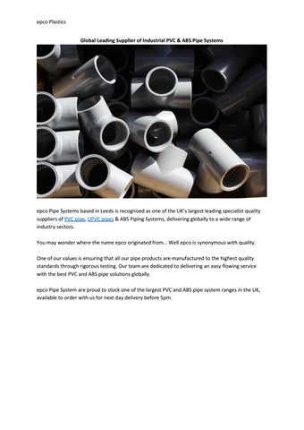 UPVC Pipes by epco Pipe Systems - issuu