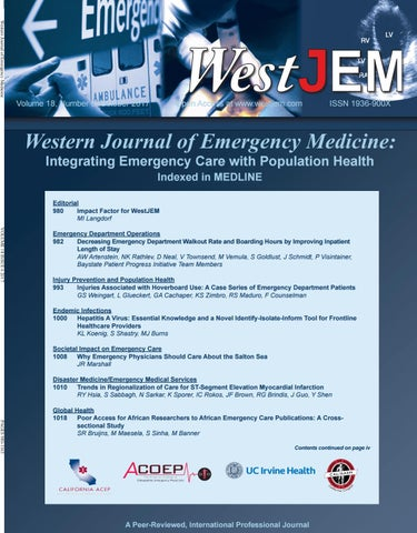 Volume 18 Issue 6 by Western Journal of Emergency Medicine