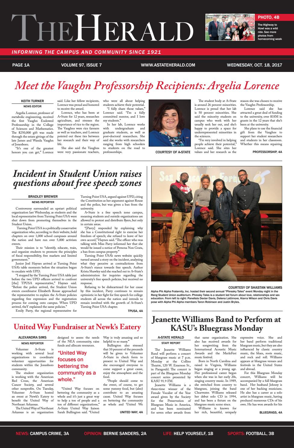 The Herald for October 18, 2017 by The Herald at Arkansas State ...