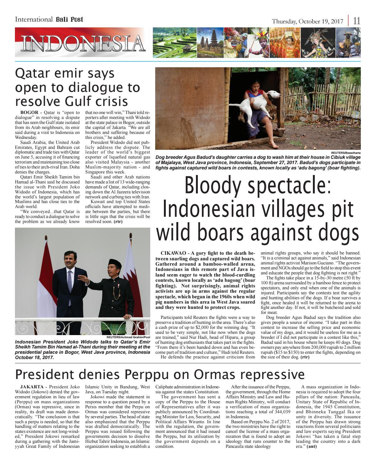 Edition Thursday,October 19,2017 | Internasional Bali Post