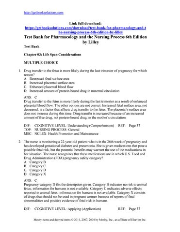 Download Test Bank For Pharmacology And The Nursing Process