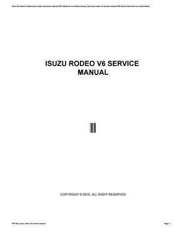 Owners manual isuzu 2003 rodeo sport by faqih85afganie issuu isuzu rodeo v6 service manual fandeluxe Gallery