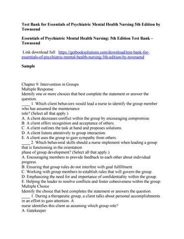 Essentials Of Psychiatric Mental Health Nursing 5th Edition