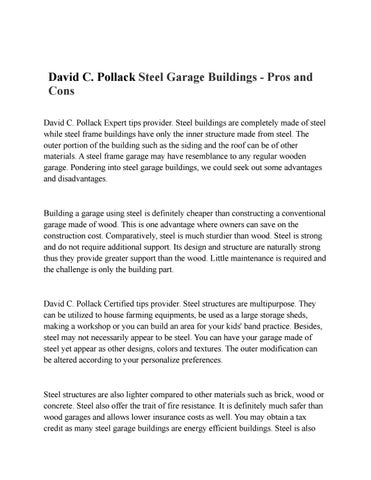 David c pollack steel garage buildings pros and cons by DavidPollack ...